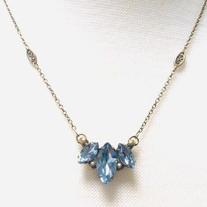 Sorrelli 3 Marquis Cut Winter Blue Crystal Necklac